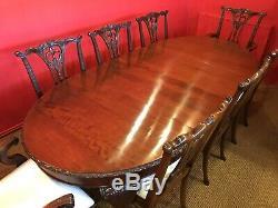 Beau Style Chippendale Set De Table À Manger En Acajou Cubain, Poli Pro Français