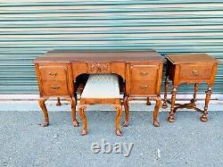 Belle Ancienne 4 Pièces Berkey & Gay Meubles Cerise Vanity Ensemble De Table En Bout De Table