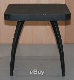 Belle Années 1930 Ebonised Black Spider Table J. Halabala Vintage Distressed Patina