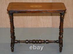 Belle Époque Victorienne Noyer Marqueterie Argent Thé Ou Occasionnels Side Table Belle Inlay