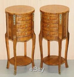 Belle Paire De Burr Vintage Français Noyer Ormolu Mounted Tables Basses Tiroirs