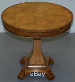 Belle Ronce De Noyer Centre Occasional Table Avec Lion Paw Poilu Pieds De La Lampe À