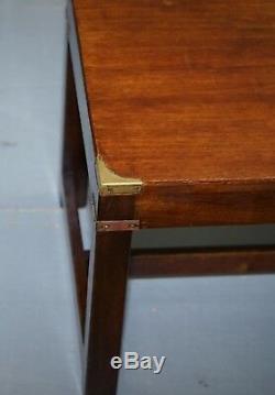 Belle Rrp £ 2250 Rare Harrods Londres Campagne Acajou Militaire Table Basse