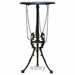Belle Table D'appoint En Marbre Avec Base De Trépied En Bronze Représentant Phoenix