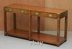 Belle Vintage Harrods Londres Kennedy Console Table Campagne Militaire Tiroirs