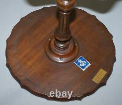 Bevan Funnell Claw & Ball Vintage Mahogany Tripod Lamp Side Table Ornate Carved