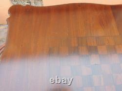 Bois Franc 36x31+ French Chess / Table De Jeu Inlaid Top Chippendale Jambes Walnut