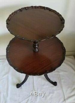 Boule De Croûte De Tarte À Thé En Forme De Table À Thé En Acajou Chippendale Style Vintage Des Années 1940