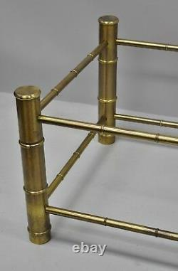 Brass Faux Bamboo Chinois Chippendale Base De Table De Café Attr. Mastercraft