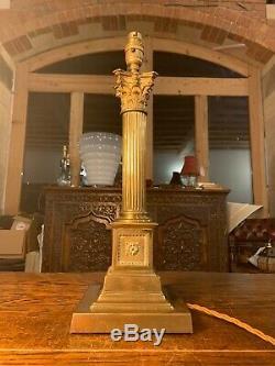 Brass Vintage Corinthian Piliers Nelsons Colonne Lampe De Table De Base Étagé, 19 C
