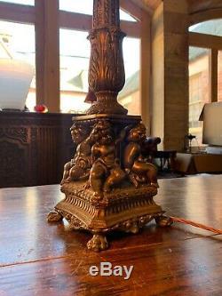 Bronze Antique Lampe De Table, Chérubins Design Classique, 2ft Grand