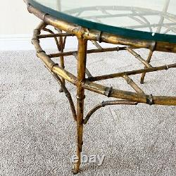 Bronze Faux Bamboo Vintage Palm Beach Regency Chippendale Table À Café