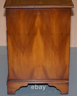 Burr Yew Coffre En Bois De Tiroirs Butlers Plaque De Service En Cuir Grande Table Latérale