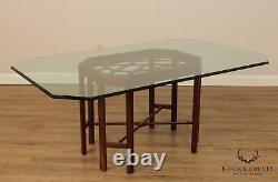 Chinese Chippendale Style Sculpté Acajou Base Table À Manger En Verre