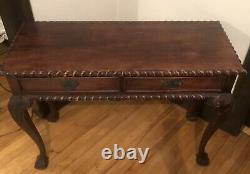 Chippendale Antique Wood Writing Desk 2 Table Console Tiroir Belle