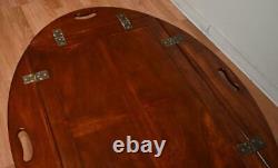 Chippendale Mahogany Butler Des Années 1930 Table Basse Avec Plateau Amovible