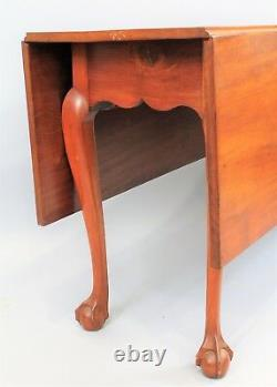 Chippendale Mahogany D/l Table Ball And Claw Feet Shaped Skirt Salem Ma