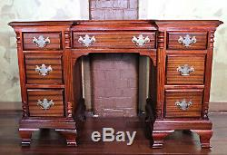 Chippendale Mahogany Vanity Table Bureau D'écriture Console Chambre Set End Side