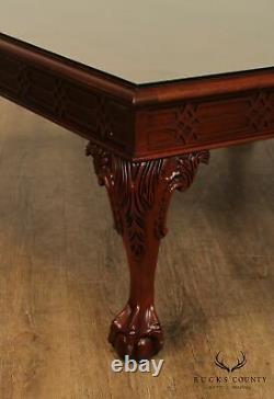 Chippendale Style Square Acajou Ball & Griffe Table De Café