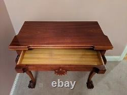 Chippendale-style Solid Mahogany Game Card Table Ball & Claw, Shell, Tiroir