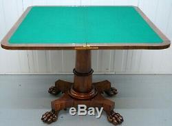 Circa 1830 William IV Table De Jeux / Carte De Pliage En Palissandre Avec Lion Pieds De Patte Poilue