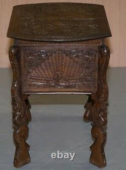 Circa 1880 Birman Main Sculpté Peacock Coudre La Poitrine Placard Poitrine Ouverte Haut