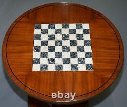 Circa 1900 Entièrement Restauré Par Français'empire Acajou Table D'échecs Marbre Ormolu Mount