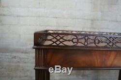 Collectionneurs Baker Édition Style Chippendale Mahogany Plateau Thé Table Parlor Accent