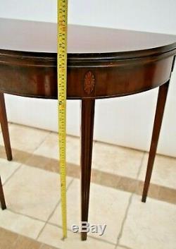 Console Vintage Expansion Table De Jeu Solide Stockage Acajou Caché Demi-lune