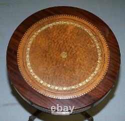 Cuir Surmonté Trois Tiroirs Regency Style Drum Side End Lamp Table Bronze Plaque