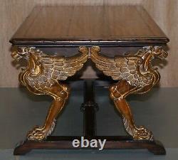 D'après Rj Horner Gold Giltwood Griffon Mahogany Double Sided Desk Writing Table