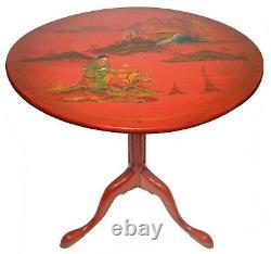 Début 20e C Chineserie Rouge Laqué, Peint À La Main Chippendale Tilt-top Table