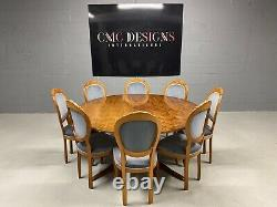 Designer Art Déco Style Burr Yew Arbre Salle À Manger Mis Pro Français Poli