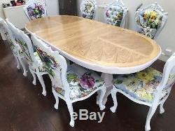 Designer Superbe Style Art Déco & Oak Burr Ash Table À Manger Français Poli