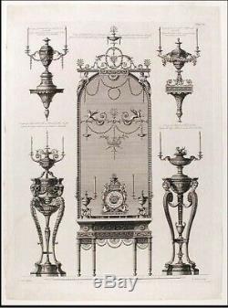 Dore Pier Miroir & Quad Piédestal Leg Marbre Surmonté Table Après Robert Adam