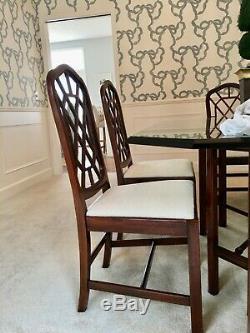 Drexel Heritage Chippendale Acajou Table À Manger + 6 Chaises Avec New Baker Fabric