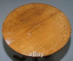 Edwardian Oak Round Table Lamp Trépied Vin Side Taille Belle Et Forme Polyvalente