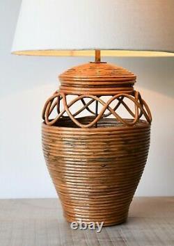 Élégante Lampe De Table En Laiton En Osier En Rotin Vintage Style Soane Britain