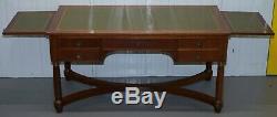 Empire Français Revival Bureau De Plat Extension Ecritoire Table En Cuir Vert
