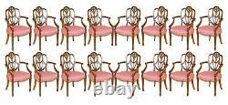Énorme Sheraton Revival Mahogany & Walnut Dining Table & 16 Fauteuils Hepplewhite