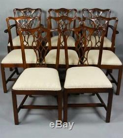 Ensemble De 8 Acajou Massif Chippendale Chau Chaises Williamsburg Style