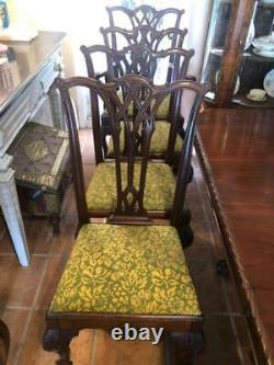 Ensemble De 8 Chaises À Manger Antiques De Style Chippendale En Acajou Avec Table À Manger