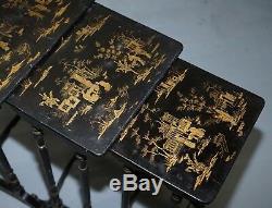 Ensemble De Quatre Tables Gigognes Originales En Chinoiserie Géorgienne, Vers 1800