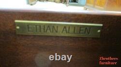 Ethan Allen Morley Café Servant Table Cuir Haut Armoire De Rangement B