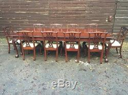 Exquis 10ft Chippendale Style Bresilian Acajou Diner Set Set Francais Poli
