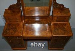 Exquis Antique Victorien Burr Dressing Table Tiroirs Miroir D'origine