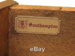 F45496ec Southampton Table De Tambour Ronde En Cuir Acajou