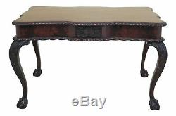 F46809ec Table De Bureau Sculptée Chippendale En Acajou Et Boule Vintage