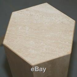 Finition En Marbre De Forme Hexagonale, Lampe En Forme De Bout De Table En Pierre Avec Piédestal