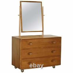 G Plan Ercol Windsor Elm Blond Wood Chest Of Drawers Dressing Table Inc Miroir